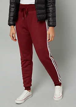 Burgundy Sherpa Lined White Striped Joggers