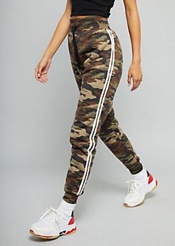 Camo Print Sherpa Lined Side Striped Joggers