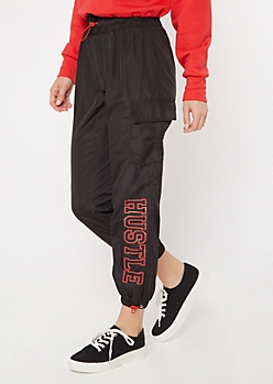 Black Hustle Graphic Cargo Joggers