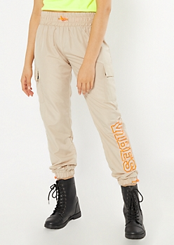 Tan Vibes Graphic Cargo Joggers