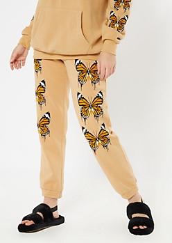 Tan Butterfly Print Boyfriend Joggers