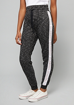 Black Space Dye Blessed High Waisted Fleece Joggers