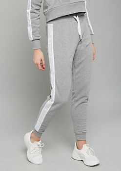 Gray Metallic Good Vibes High Waisted Joggers