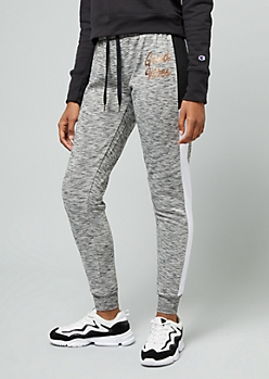 Gray Space Dye Good Vibes Colorblock Fleece Joggers