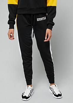 Black Hustle Colorblock Fleece Joggers