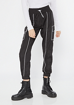 Black Drawstring Piping Cargo Joggers