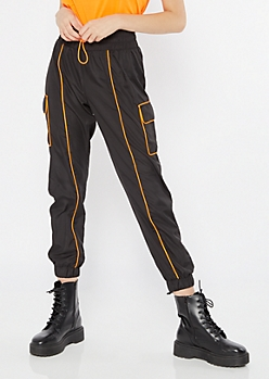 Orange Drawstring Piping Cargo Joggers