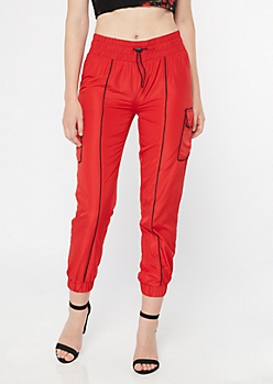 Red Drawstring Piping Cargo Joggers