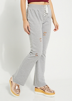 Heather Gray Distressed Lace Up Sweatpants