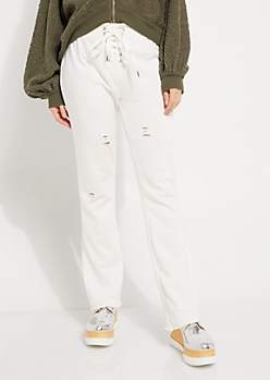 Ivory Lace-Up Distressed Joggers