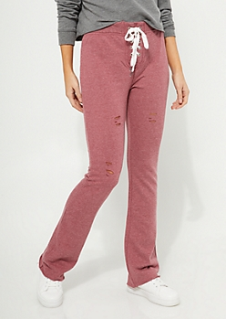 Burgundy Distressed Lace Up Sweatpants