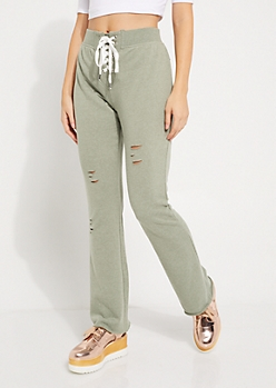 Olive Lace-Up Distressed Joggers