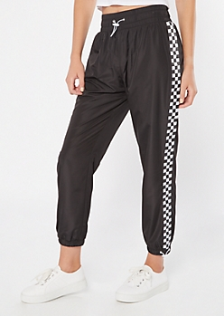Black Checkered Print Side Striped Bungee Track Pants