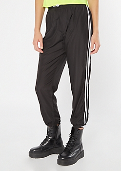 Black Side Striped Bungee Track Pants