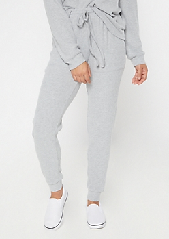 Heather Gray Hacci Knit Joggers