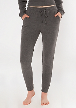 Charcoal Gray Hacci Knit Joggers