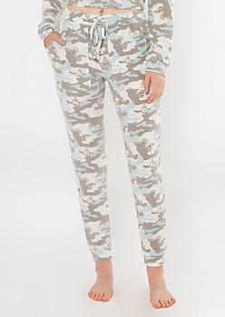 Blue Butterfly Camo Print Hacci Knit Joggers