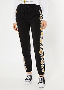 Black Checkered Sunflower Cozy Boyfriend Joggers
