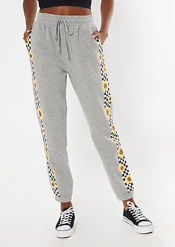 Heather Gray Checkered Sunflower Cozy Boyfriend Joggers