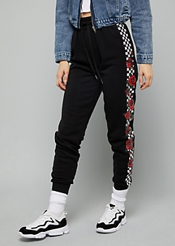 Black Checkered Print Rose Side Striped Fleece Joggers