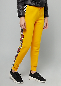Mustard Checkered Print Rose Side Striped Fleece Joggers