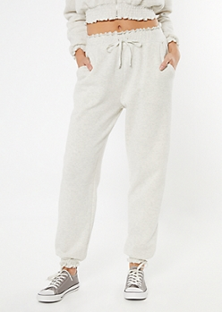 Oatmeal Smocked Paperbag Waist Cozy Joggers