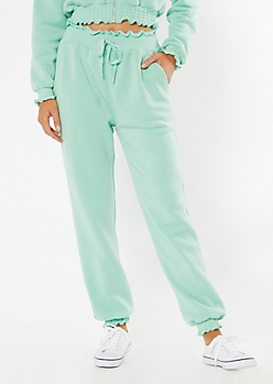 Mint Smocked Paperbag Waist Cozy Joggers