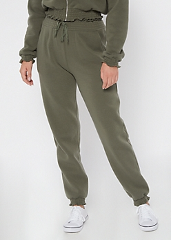 Olive Smocked Paperbag Waist Cozy Joggers