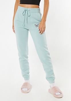 Light Blue Butterfly Embroidered Skinny Joggers