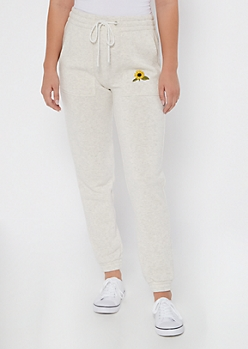 Heather Gray Sunflower Embroidered Skinny Joggers