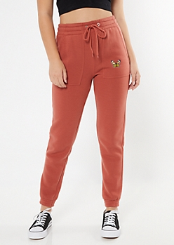 Burnt Orange Embroidered Butterfly Skinny Utility Joggers