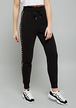 Black Rainbow Checkered Print Side Striped Fleece Joggers