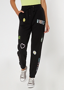 Holographic Daisy Patch Boyfriend Joggers