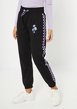 Purple Checkered Print Rose Joggers