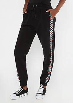 Black Checkered Cherry Boyfriend Joggers
