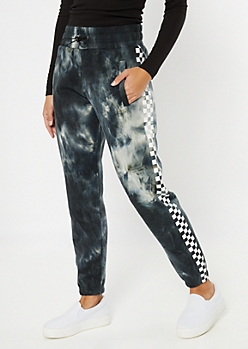 Black Tie Dye Checkered Print Side Striped Joggers