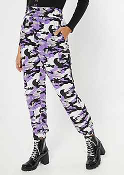 Purple Camo Print Utility Swishy Pants