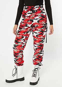 Red Camo Print Utility Swishy Pants