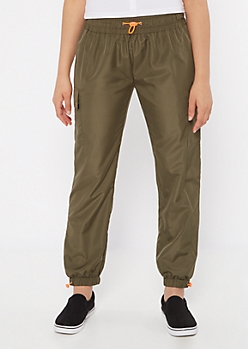 Olive Swishy Bungee Cargo Joggers