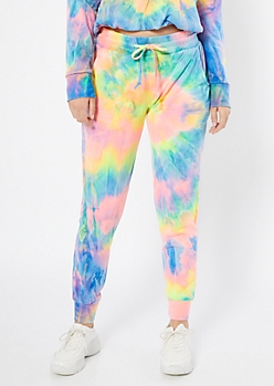 Rainbow Tie Dye High Waisted Joggers