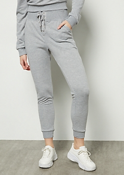 Heather Gray Lace Up Front Joggers