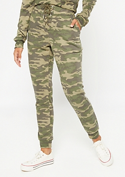Camo Print Lace Up Joggers