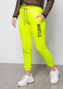 Neon Yellow Fleece Hustle Graphic Joggers