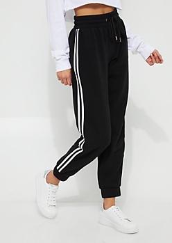 Black Athletic Striped Fleece Joggers