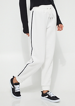 White Athletic Striped Fleece Joggers