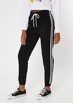 Black Varsity Double Stripe Skinny Joggers
