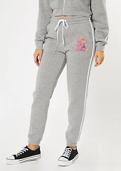 Gray Varsity Double Stripe Dragon Embroidered Skinny Joggers
