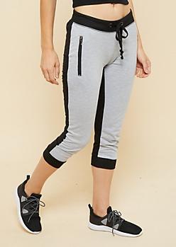 Gray Colorblock Zipper Pocket Cropped Joggers