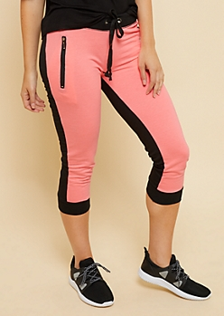 Hot Pink Colorblock Zipper Pocket Cropped Joggers