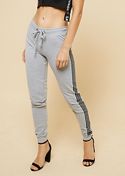 Heather Gray Racing Stripe Pattern Knit Joggers